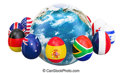 Easter holiday concept. Eggs with flags rotating around the Earth, 3D rendering