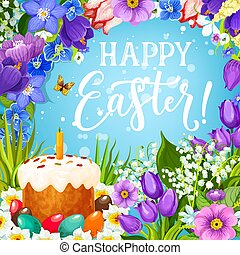 Easter holiday eggs and cake with flower frame