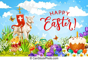 Easter holiday eggs, chickens and lamb of God