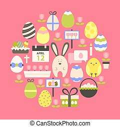 Easter holiday Flat Icons Set over dark pink