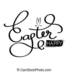Easter Holiday Hand Lettering Text. Isolated on white background. Vector Illustration.