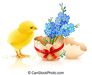easter holiday illustration with chicken, isolated on white background