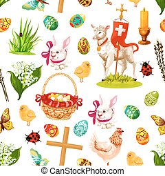 Easter holiday symbols seamless pattern background