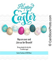 Easter holiday template - Bright Easter eggs on a grass....