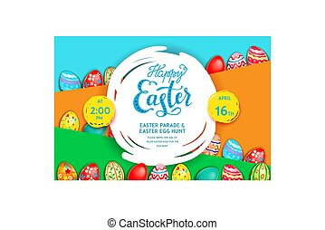 Easter holiday template - Easter eggs on a bright yellow...