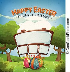 Easter Holidays And Spring Scene