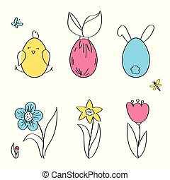 Easter horizontal borders with funny cute chickens and rabbits, flowers, insects, flat vector illustration