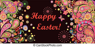 Easter horizontal colorful banner