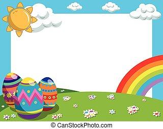 Easter horizontal frame decorated eggs raibow meadow