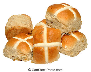 Easter Hot Cross Buns - Traditional Easter hot cross buns,...