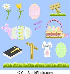 Easter Icon Set of decorated eggs, basket, sign, bible, cross, bunny and flowers
