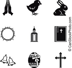 Easter icon set, simple style