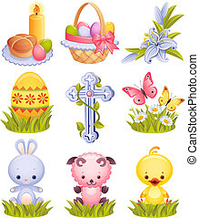 Easter icons - Vector illustration - Easter icon set