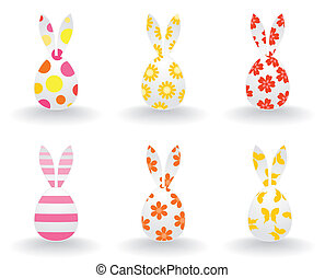 Easter icons of hares. A vector illustration