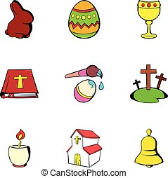 Easter icons set, cartoon style
