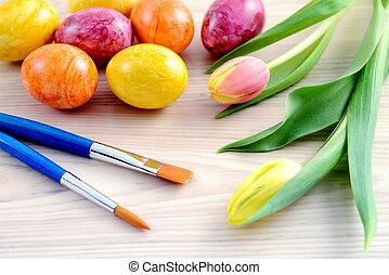 easter ikra, noha, tulipánok, és, ecset