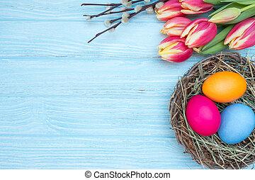 easter ikra, noha, tulipánok, és, fűzfa