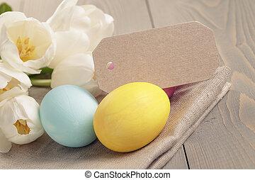 easter ikra, noha, tulipánok, képben látható, asztal