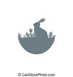 Easter illustration with habbit silhouette icon