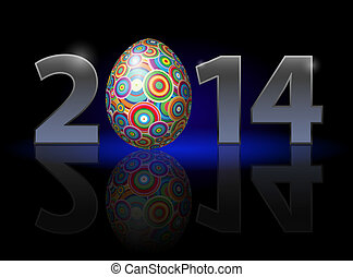 Easter in 2014 - Easter holiday in 2014: metal numerals with...