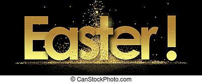 easter in golden stars background