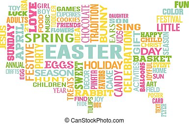 Easter in the United States of America. Word Map