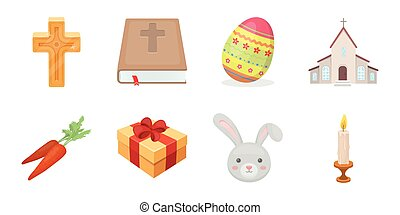 Easter is a Christian holiday icons in set collection for design. Easter attributes vector symbol stock web illustration.