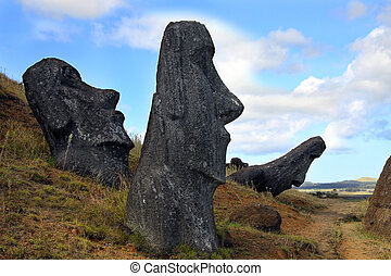 Easter island - A platform with statues on Easter Island