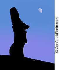 Easter island - A silhouette of a stone statues on Easter...