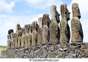 Easter Island, Chile - Moai at the Tonariki archaeological...