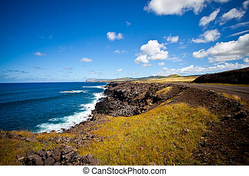 Easter Island Coastline, open space, white waves, deep blue ...