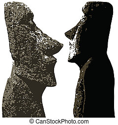 Easter Island Heads - Stone heads as found on Easter Island...