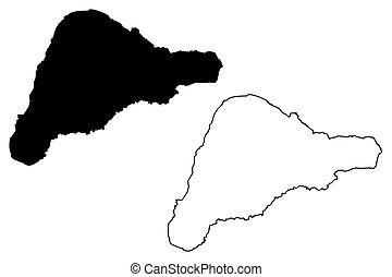 Easter Island map vector - Rapa Nui island map vector...