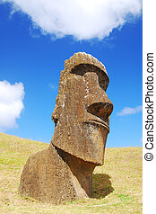 Easter Island Moai at Rano Raraku quarry where the moai were...