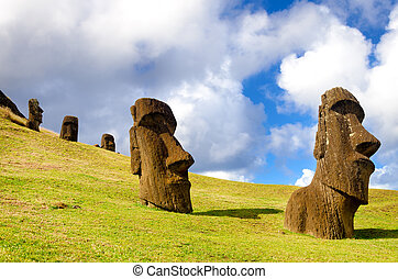 Easter Island Moai - Large statues known as Moai on Easter...