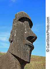 Easter Island Moai Statue - Portrait view of an Easter...