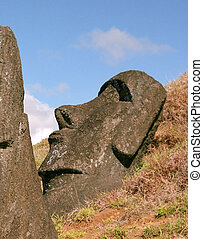Easter island - Moais of Ahu Akivi inland Ahu on the UNESCO ...