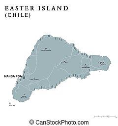 Easter Island political map with capital Hanga Roa, streets...
