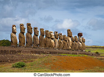 Easter Island statues in line