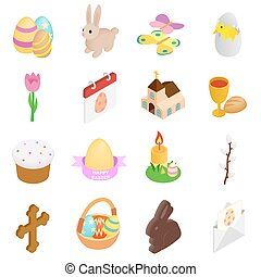 Easter isometric 3d icons
