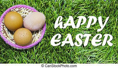 easter., jaja, text:, trawa, wielkanoc, gniazdo, szczęśliwy
