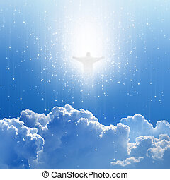 Jesus Christ in blue sky with white clouds and stars - heaven, easter