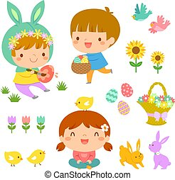 Easter kids and icons