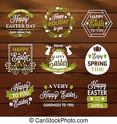 Easter labels and badges on wood background
