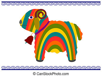 Easter lamb in a colorful folk-style on a white background.