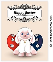Easter lamb - lovely white lamb , wish a Happy Easter, the...
