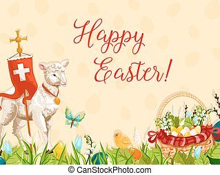 Easter lamb of God with cross greeting card design - Easter...