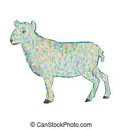 Easter lamb polygons vector.eps - Easter lamb polygons white...