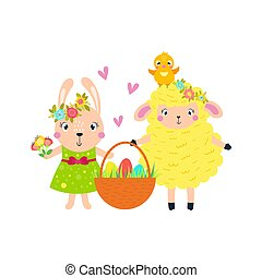 Easter lamb, rabbit chick carry a basket of eggs.