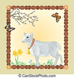 Easter Lamb with butterflies and Pussycats frame place for...